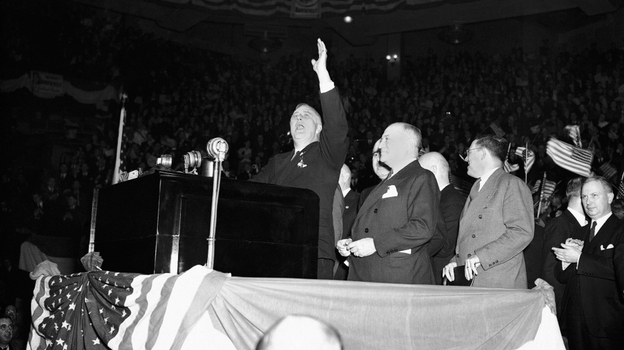 President Franklin D. Roosevelt drummed up populist support in one of his last campaign speeches at Madison Square Garden in New York, on Oct. 31, 1936. But after he was re-elected, Roosevelt slashed government spending. (Associated Press)