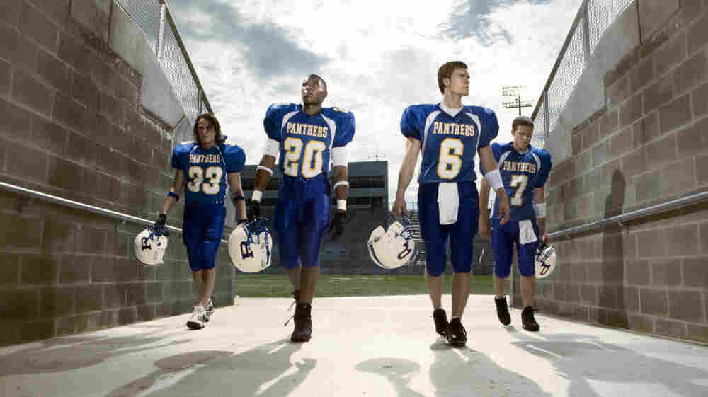 "The original Friday Night Lights crew, in an NBC publicity photo, from left: Tim Riggins (Taylor Kitsch), Brian ""Smash"" Williams (Gaius Charles), Jason Street (Scott Porter) and Matt Sarasan (Zach Gilford)."