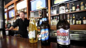 The Ugly Mug restaurant and bar in Minneapolis displays a few of its MillerCoors products.