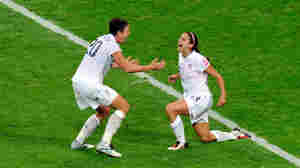 Alex Morgan and Abby Wambach a goal during the FIFA Womens's World Cup Final between the United States of America and Japan.
