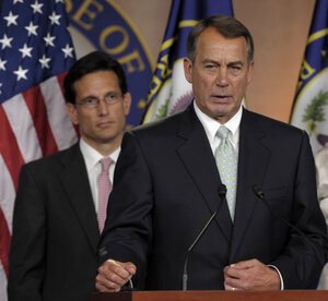 House Speaker John Boehner of Ohio (right) and House Majority Leader Eric Cantor of Virginia on Capitol Hill in Washington, D.C., on Friday.