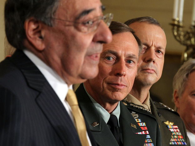 Leon Panetta (left) speaks at an event in April when President Obama announced a reshuffling of national security leaders, as Gen. David Petraeus and Marine Gen. John Allen listen.