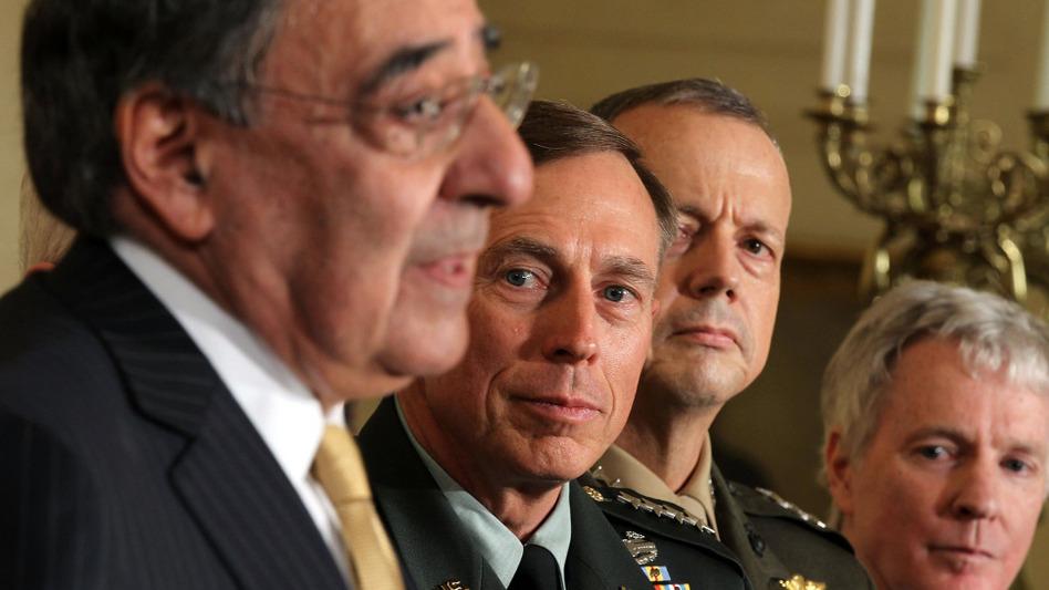 Leon Panetta (left) speaks at an event in April when President Obama announced a reshuffling of national security leaders, as Gen. David Petraeus and Marine Gen. John Allen listen.