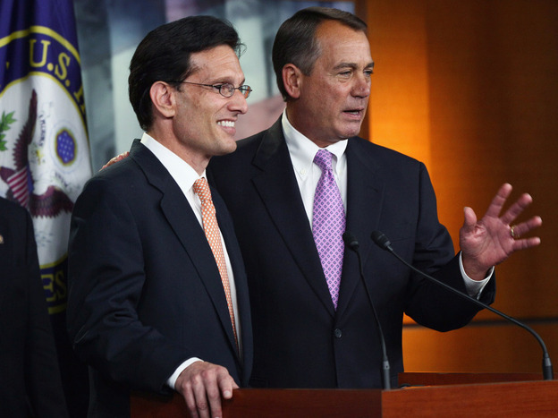 House Speaker John Boehner House Majority Leader Eric Cantor answer questions during a press conference on a balanced budget amendment at the U.S. Capitol July 14, 2011. Economists say many conservatives believe the answer to the economy's woes is a dramatic reduction in spending, but that could be risky.