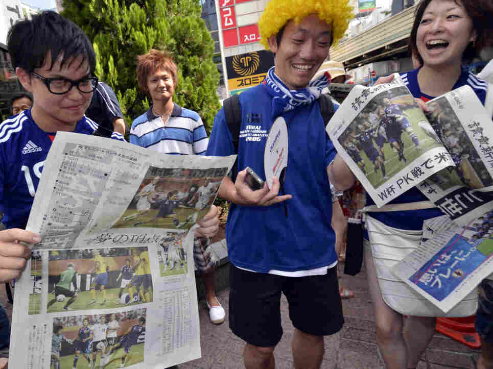 In Tokyo today, newspapers printed extra editions to report about the women soccer team's victory in the World Cup.