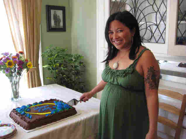 Jolivette, shown at her recent baby shower, is planning to use the HypnoBirthing method of natural childbirth.