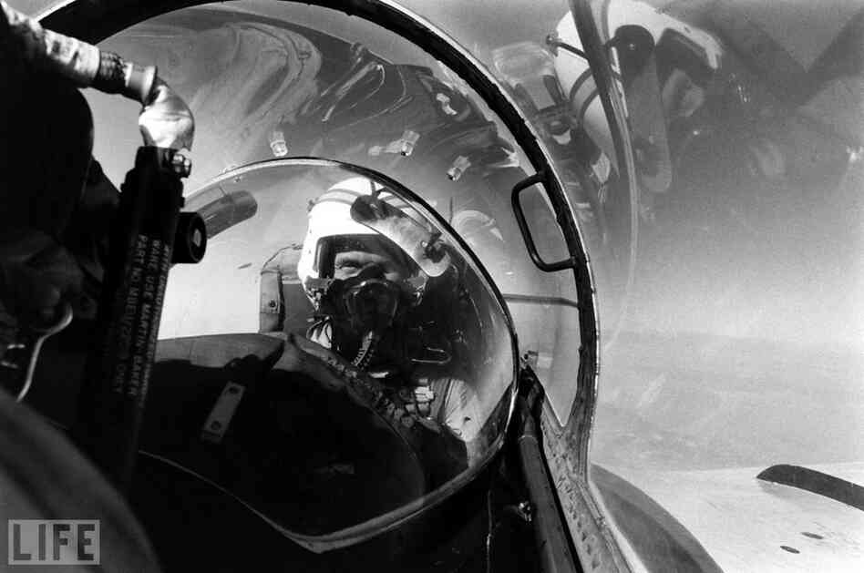 John Glenn flies a jet while stationed at Marine Corps Air Station El Toro, Southern California, 1964.