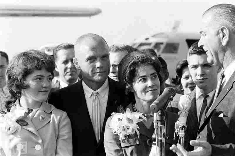 Glenn, his daughter, Lyn (left), wife Annie, son David and Vice President Lyndon Johnson at Cape Canaveral in 1962, two days after his historic orbital flight in Friendship 7 and the day before he received NASA's Distinguished Service Medal from President John Kennedy.