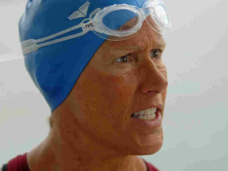 Diana Nyad speaks with one of her staff before a training swim July 5, off the coast of Key West, Fla.