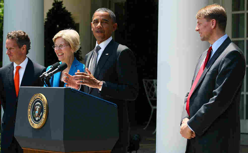 President Obama at his announcement of Richard Cordray as his choice to lead the Consumer Financial Protection Bureau. Elizabeth Warren and Treasury Secretary Timothy Geithner also attended.
