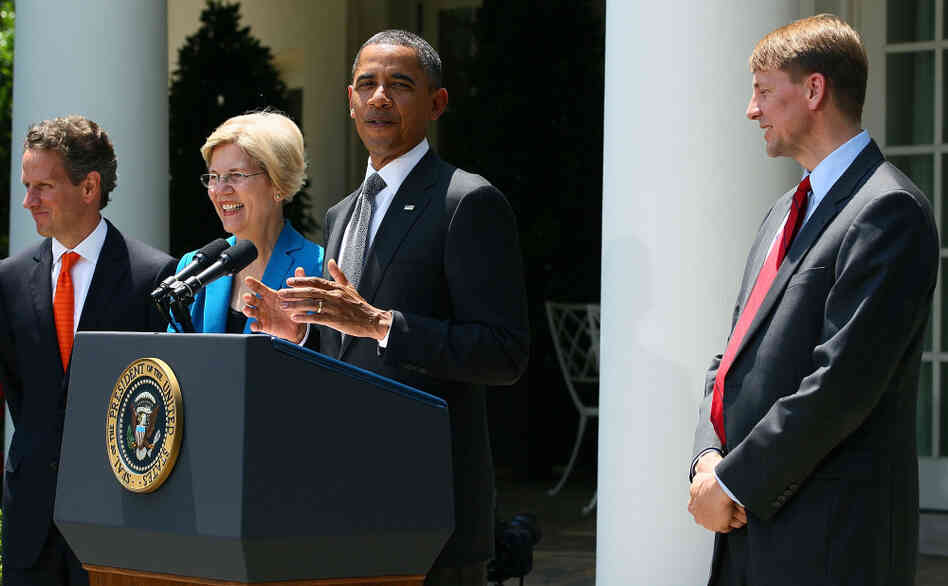 President Obama at his announcement of Richard Cordray as his choice to lead the Consumer Financial Protection Bureau. Elizabeth Warren and Treasury Secre