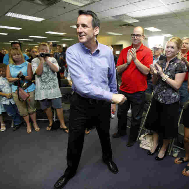 Former Minn. Gov. Tim Pawlenty greets supporters before a July 7 town hall meeting at his Iowa campaign headquarters in Urbandale.