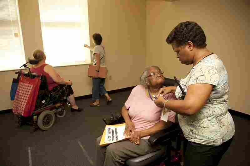 Rambert hands Hendrix keys to her first new home in six years. One thing Hendrix says she missed most when she lived at the nursing home was a door with a lock. She complained that, in the room she shared with another woman, other residents wandered in and out, day and night.