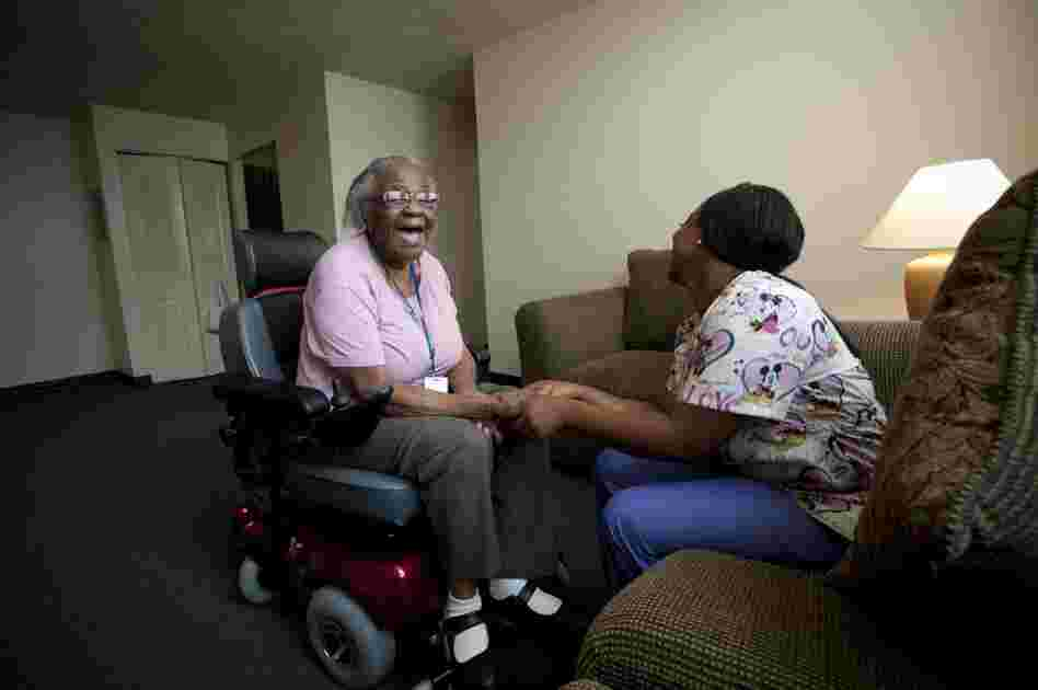 Hendrix and nurse aide Jessica Allen get to know each other after her home has been set up. An aide comes for two hours in the morning and two hours at night to help Hendrix get out of bed, take a bath and with household chores. That still costs the state less than it paid for the round-the-clock care that's available in a nursing home.