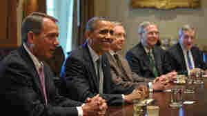 They're still talking. President Obama and leaders from Congress will continue deficit-reduction negotiations. July 14, 2011 file photo taken at the White House. From left to right: House Speaker John Boehner (R--OH); Obama; Senate Majority Leader Harry Reid (D-NV); Senate Minority Leader Mitch McConnell (R-KY); Senate Majority Whip Richard Durbin, (D-IL).