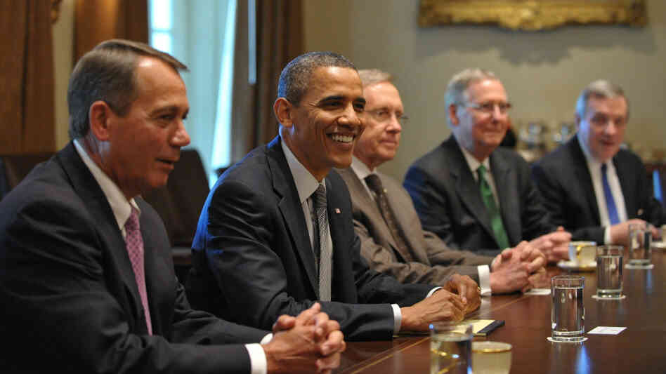 They're still talking. President Obama and leaders from Congress will continue deficit-reduction negotiations. July 14, 2011 file photo taken at the White House. From left to right: House Speaker John Boehner (R--OH); Obama; Senate Majority Leader Harry Reid (D-NV); Senate Minority Leader Mitch McConnell (R-KY); Senate Majority Whip Ri
