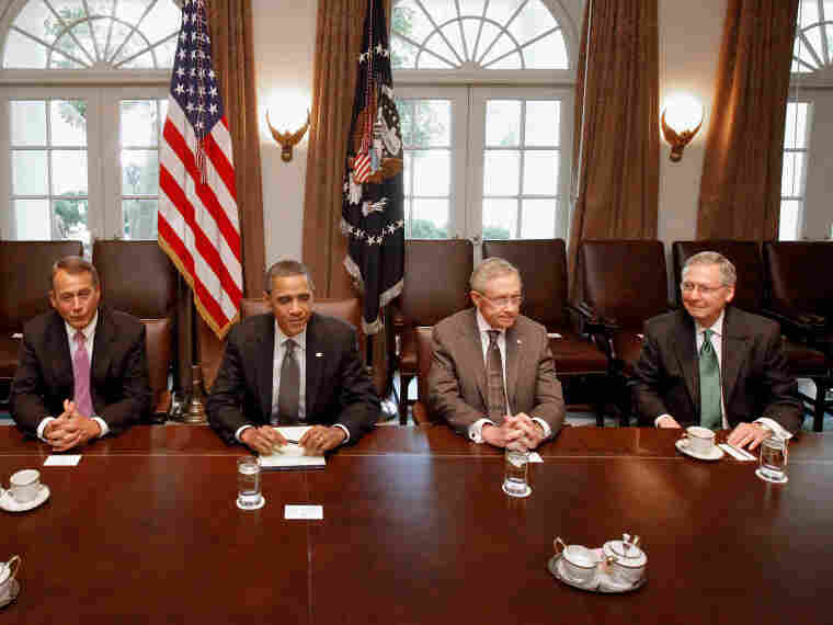 President Obama and congressional leaders work to strike a deal to raise the debt limit at the White House, July 14.