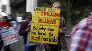On May 24, 2011, teachers and others demonstrated against proposed budget cuts that would eliminate many teaching and staff positions and educational programs throughout the Los Angeles Unified School District. The demonstrators were at district headquarters in Los Angeles.