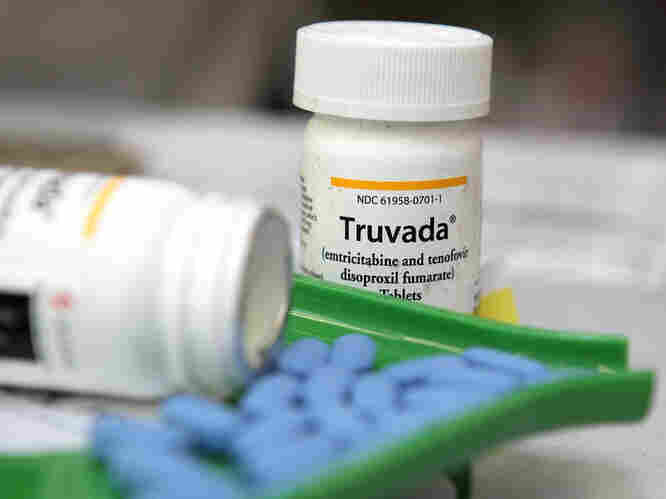 Bottles of antiretroviral drug Truvada, a medicine used in trials that showed a reduction in transmission of HIV between hetero