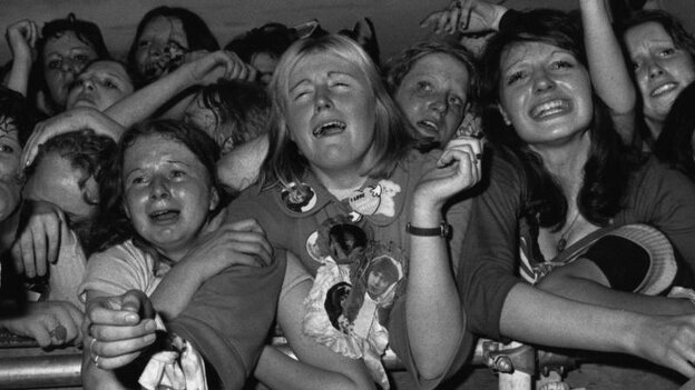 28th May 1974:  Teenage fans at a David Cassidy concert at White City, London.  (Photo by Tim Graham/Evening Standard/Getty Images)