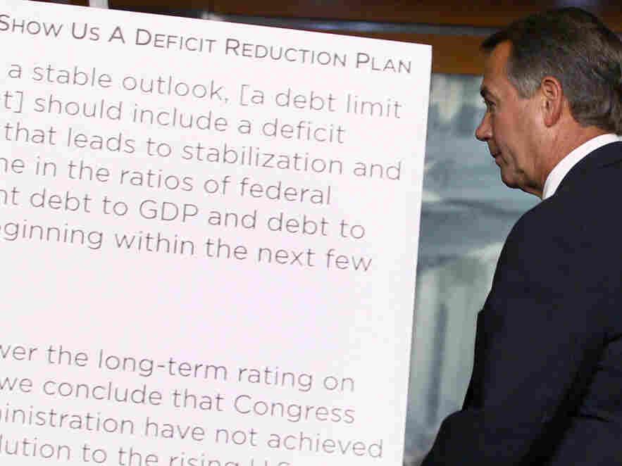 House Speaker John Boehner leaves a news U.S. Capitol news conference, July 19, 2011.