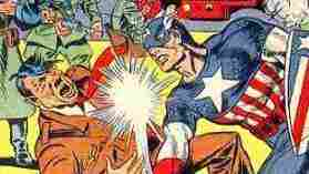 Cover of 1941's Captain America Comics #1, on which Cap puts der fist to der Fuhrer.