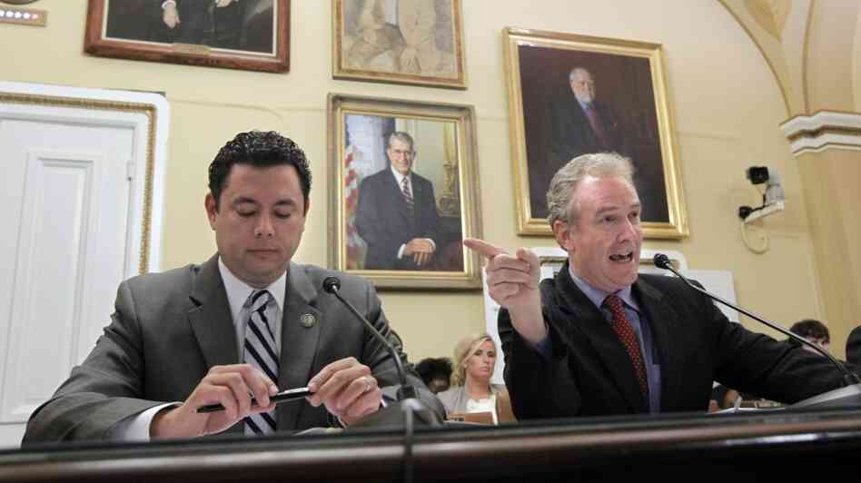 Maryland Rep. Chris Van Hollen (right), the ranking Democrat on the House Budget Committee, spars with Utah Republican Jason  Chaffetz as they testify before the House Rules Committee on the Cut, Cap and Balance plan Monday at the Capitol.