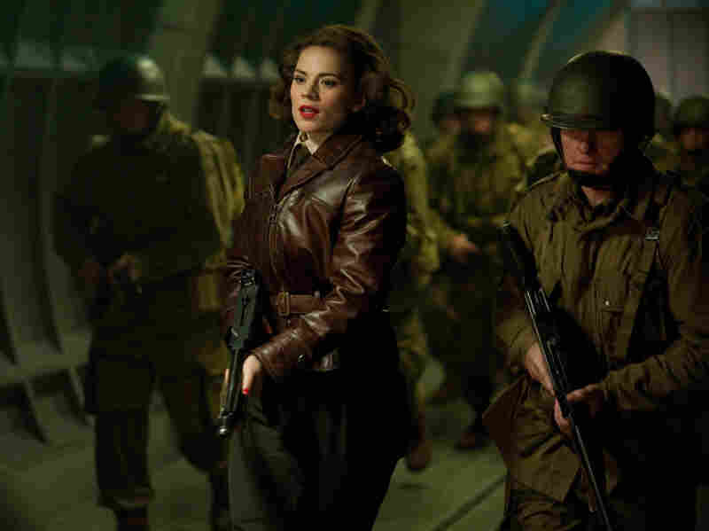 Hayley Atwell plays Peggy Carter, Steve Rogers' girlfriend in Captain America.