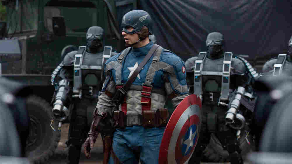 Captain America (Chris Evans, center) was actually the first Marvel avenger, conceived in 1940 to do battle with  Hitler.
