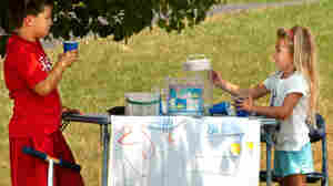 Matt Grozier, 8, and his neighbor, Alyssa Boyd, 5, at her lemonade stand near Lightstreet, Pa., in 2007.
