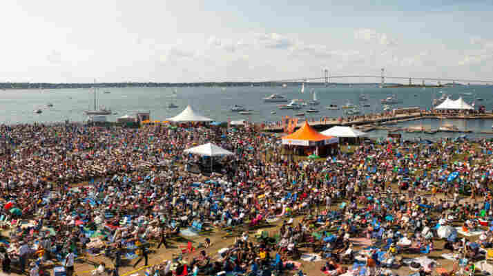 A view of the crowd and harbor from Fort Adams at the Newport Jazz Festival.