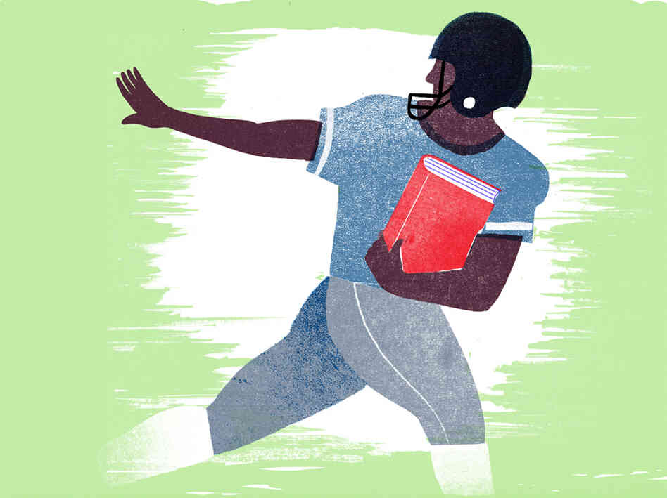 Illustration of a football player running with a book.
