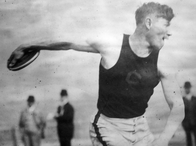 Native American sports star Jim Thorpe throws the discus at the 1912 Olympics in Stockholm, where he won gold medals in both the pentathlon and decathlon events. (Getty Images)