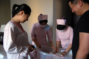 The Weige Center provides luxury accommodation and a full-time nursing staff. Wu and the baby haven't left this apartment since she arrived from the hospital, and she has only had sponge baths since giving birth.