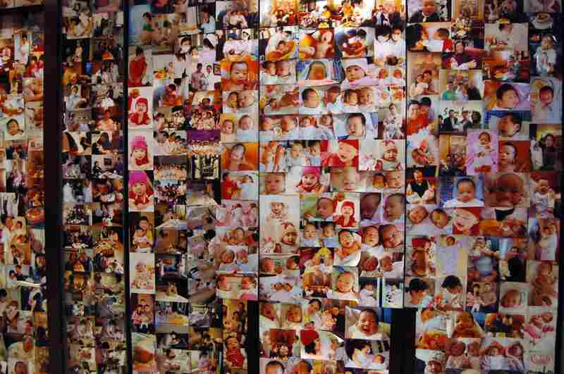 A photo wall in the reception area of the Weige Center shows babies who have been nurtured here. Babies and new moms spend their first 30 days together being pampered by nurses. The clientele are mostly wealthy Chinese, though some Chinese women married to foreign men patronize the center.