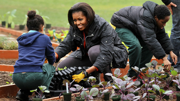 First lady Michelle Obama is expanding her Let's Move campaign way beyond the White House garden. (Getty Images)