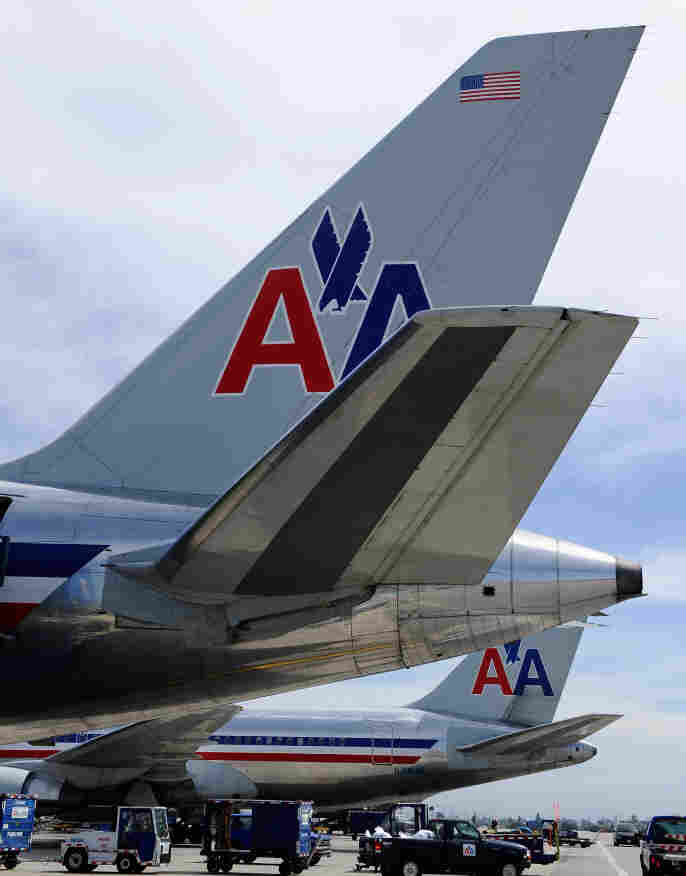 American Airlines jets at Los Angeles International Airport. April 5, 2011, file photo.