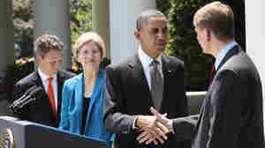 President Obama shakes hands with former Ohio Attorney General Richard Cordray after announcing his nomination to serve as the first director of the Consumer Financial Protection Bureau. Treasury Secretary Timothy Geithner and Elizabeth Warren, who helped build the agency, look on.