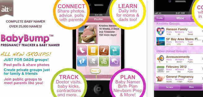 A screen grab of the Baby Bump application.