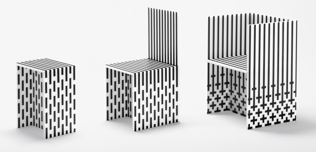 The High Museum of Art commissioned nendo, a Japanese design collective, to create Visible Structures — a 12-piece installation of furniture made out of form core and cardboard, reinforced with graphite tape.
