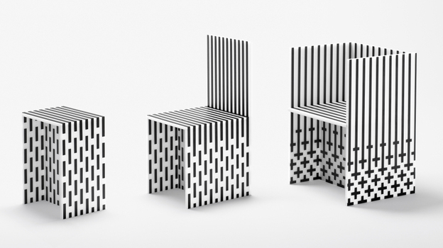 The High Museum of Art commissioned nendo, a Japanese design collective, to create Visible Structures — a 12-piece installation of furniture made out of form core and cardboard, reinforced with graphite tape. (Masayuki Hayashi)