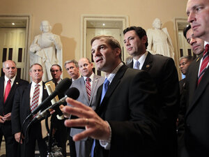"Rep. Jim Jordan (R-Ohio), the Republican Study Committee chairman, center, is surrounded by fellow House GOP members after passage of the conservative deficit reduction plan known as ""Cut, Cap and Balance"" in the GOP-controlled House, on Capitol Hill in Washington, Tuesday, July 19, 2011."