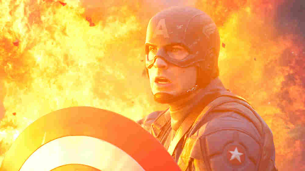 The American Way: A military genetics experiment transforms 98-pound weakling Steve Rogers (Chris Evans) into the iconic red, white and blue crusader. Cap must balance superheroics with his patriotic duty to sell war bonds.