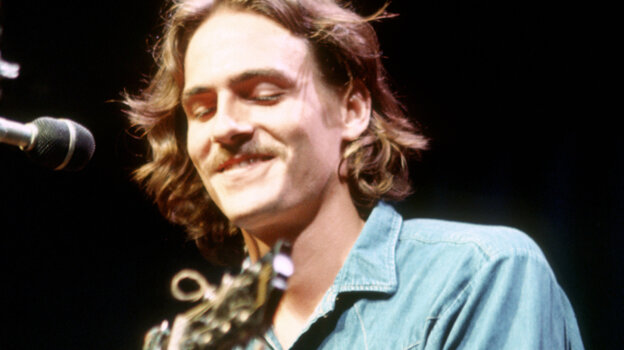 James Taylor onstage at the Mariposa Folk Festival in July of 1970 in Orillia, Ontario.