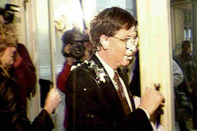 Other top business leaders have been hit with pies in public too. In 1998, Microsoft Chairman Bill Gates was hit in the face by four cream tarts chucked by infamous pie thrower Noel Godin in Brussels.