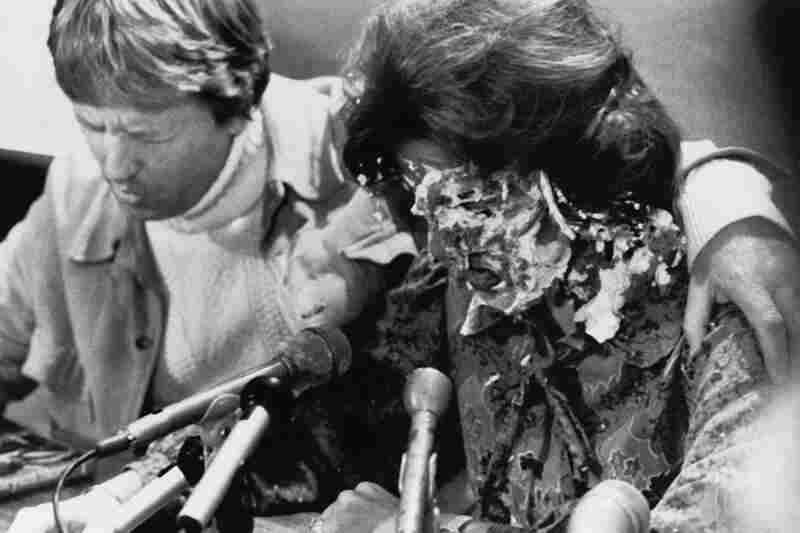 Anita Bryant, country singer and gay-rights opponent, had a banana cream pie thrown in her face by Tom Higgins, an openly gay man from Minneapolis, in 1977 during a press conference in Des Moines, Iowa. Instead of retaliating, Bryant's husband, Bob Green, said to let Higgins go untouched as they prayed for him.