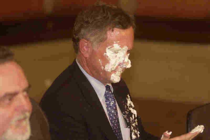 Foreign dignitaries are not exempt from pie throwing in Brazil. Deputy U.S. Trade Representative Peter Allgeier cleaned his face after being hit with a meringue pie during a news conference regarding a proposed Free Trade Area of the Americas treaty in Rio de Janeiro in 2003.