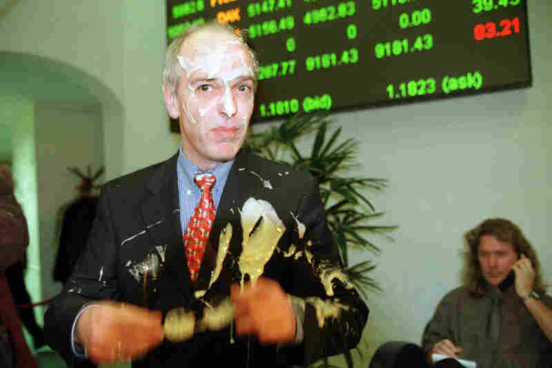Dutch protesters have used pie throwing as a way to display their disagreement with politicians. Here Dutch Finance Minister Gerrit Zalm was hit with pies by anti-euro protesters in the Amsterdam Stock Exchange in 1999 as trading in the new European currency was officially launched.