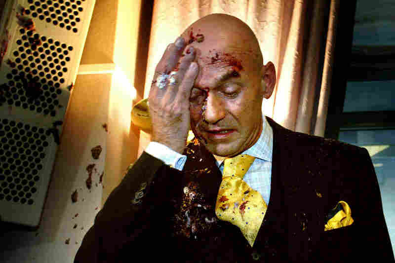 A particularly messy and gruesome-looking pie was thrown at Pim Fortuyn, the Dutch right-wing politician accused of promoting racism, by a protester in The Hague, Netherlands, in 2002.