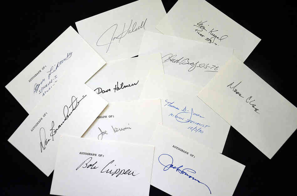 Various autographs from space shuttle-era astronauts, including Bob Crippen, the shuttle's first pilot, and Dan Brandenstein, the commander of shuttle Endeavour's maiden mission. Three hundred fifty-five astronauts from 16 nations flew on the space shuttle.